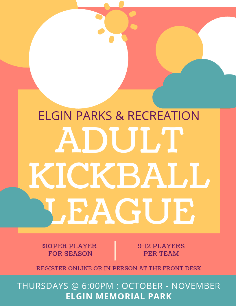 Adult Kickball League Poster